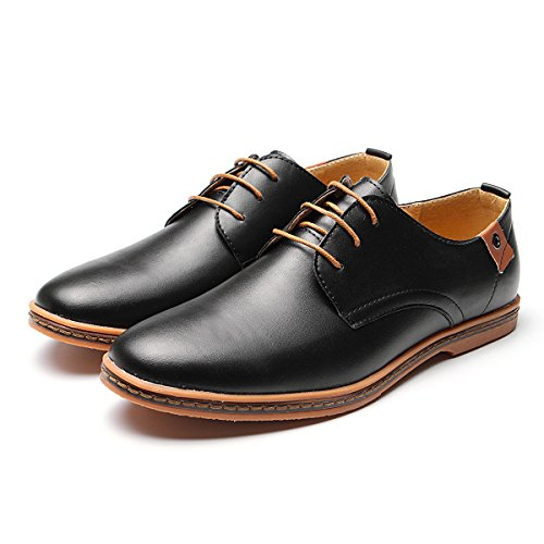 Gracosy Casual Oxford Shoes, Men Leather Lace Up Dress Oxfords Water Resistant Formal Shoes Non-Slip Driving Shoes Black 11.5 D(M) (Black Leather Formal Slip)