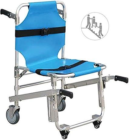 LRX Camillas portátiles Ascensor de Escalera Plegable Silla de traslado Silla de Peso Ligero Ambulancia Aluminium Chair con 4 Ruedas