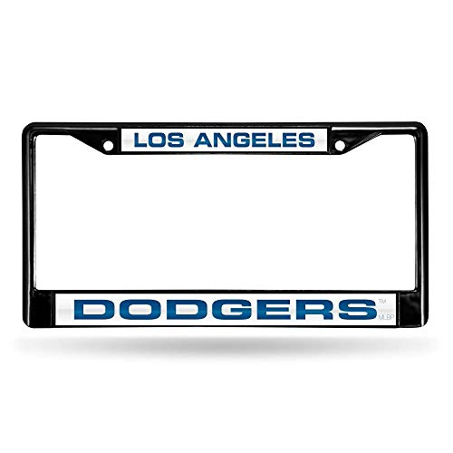 Rico Industries RIC-FCLB5601 Los Angeles Dodgers MLB Laser Cut Black License Plate Frame