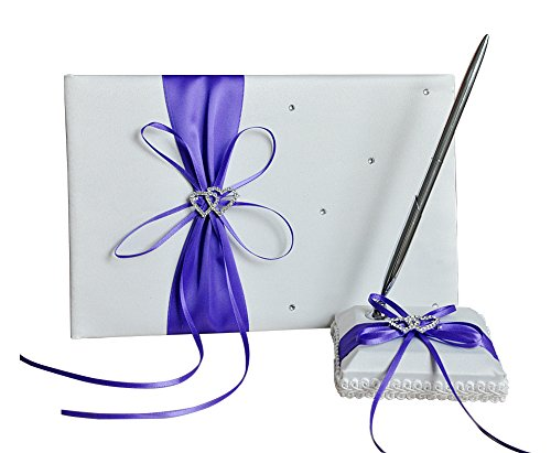 he andi 1 Wedding Guest Book + 1 Pen Set Decor Red Ribbon Bowknot, Double Heart Diamante Crystal Rhinestone Buckle (purple) by he andi