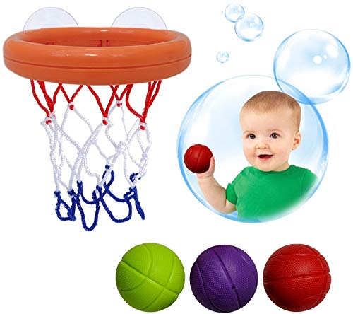(Bundaloo Basketball Bath Toy for Toddlers | Hoop Shooting Tub Game Set Adjustable with Suction Cups & 3 Lightweight Balls - Tub Time Fun Toys for Toddler & Baby)