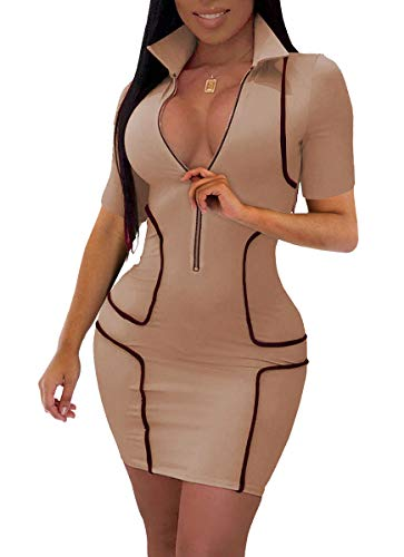 LightlyKiss Womens Sexy Mini Club Zipper Dresses Casual Short Sleeves Bodycon Clubwear Khaki (Sexy Khaki Club Dress)