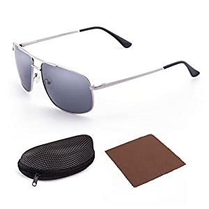 LotFancy Sunglasses for Men, Polarized, Rectangular Metal Frame, Ultra Lightweight, UV400 Protection
