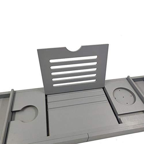 Bathtub Trays HAIZHEN, Bamboo, Adjustable Telescopic Bed Laptop Desk with Wine Glass/Phone Holder /2 Sliding Tray (Gray) by Bathtub Trays (Image #4)