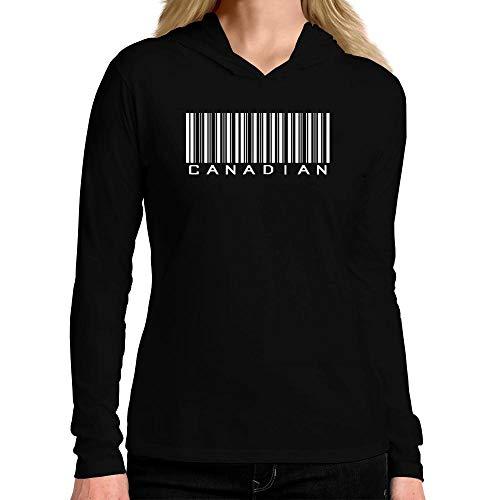 Idakoos Canadian Top Barcode Women Hooded Long Sleeve T-Shirt L Black