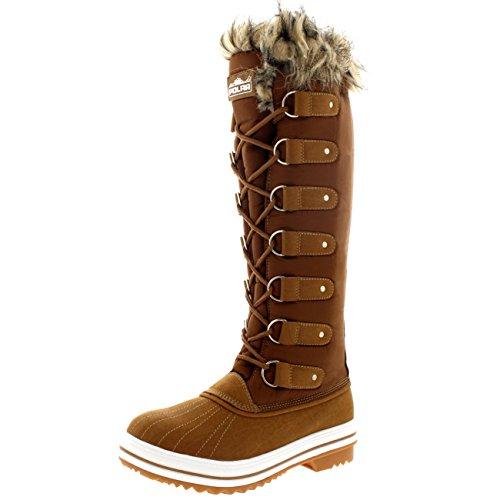 Polar Mujer La Tan Altura Cordones Rodilla Bota de Piel Zapato Nylon Caucho de Manguito rrwSxfHqdp