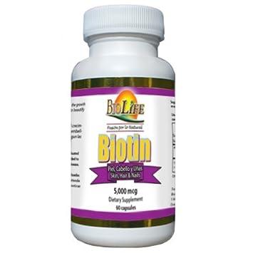 Amazon.com: Biotin 60 Capsules 5000mcg From Biolife: Health ...