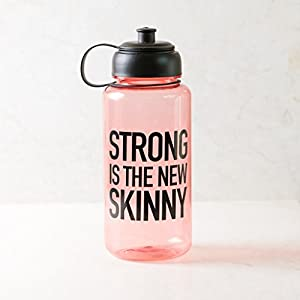 Ankit Strong Is The New Skinny Water Bottle with Holder Water Cap 35 Oz Good Vibes Only Water Bottle BPA free sports water bottle plastic grey inspirational tritian fitness wide mouth motivational