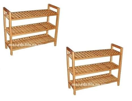 Ripiani In Legno Fai Da Te : Scarpiera a 3 ripiani in legno di noce massello con finitura