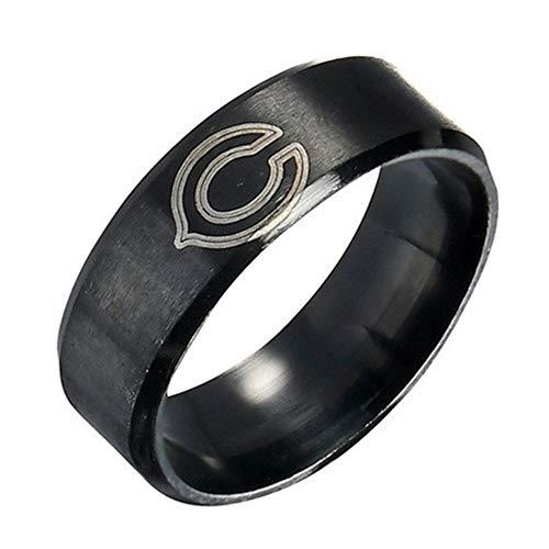 FlyStarJewelry Chicago Bears Ring Football Black Titanium Steel Men Sport Ring Band Size 7-13 (12)