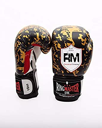 RingMaster UK 12oz Boxing Gloves synthetic Leather Black And Gold Camo