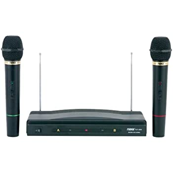naxa nam 984 dual handheld wireless microphone starter kit with wireless fm receiver. Black Bedroom Furniture Sets. Home Design Ideas