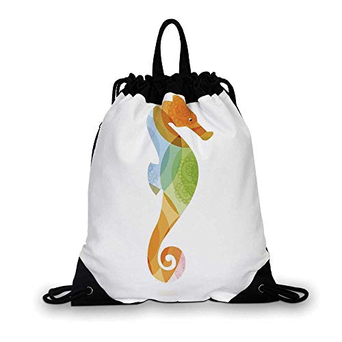 Animal Decor Nice Drawstring Bag,Silhouette of Sea Creature with Coral Reef Patterns Inside Aquarium Icon For hiking,7.4