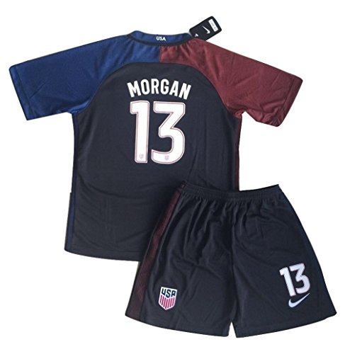 2016-2017 Alex Morgan #13 USA National Away Jersey and Shorts for Kids/Youth (Ages 7-8)]()