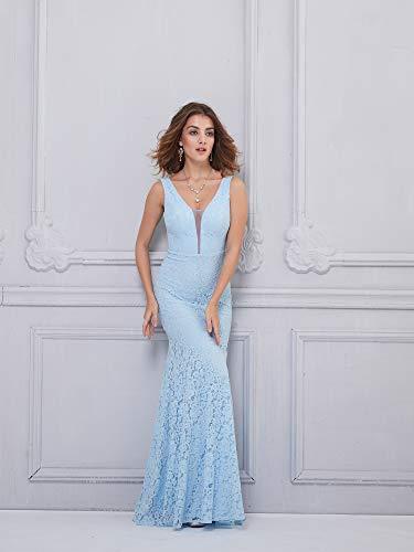 Ever Moulante de Femme Soire Bleu Sirne Longue Ciel Dentelle V Pretty 08838 Col Robe rpxq8rF