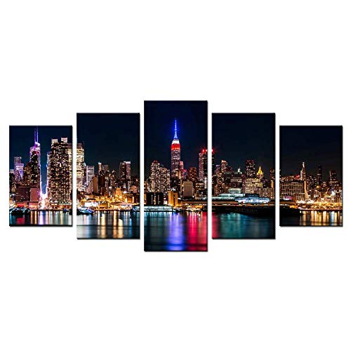 Biuteawal - New York City Canvas Wall Art Manhattan Skyline at Night Picture Prints Modern Home Office Wall Decoration Stretched Ready to ()