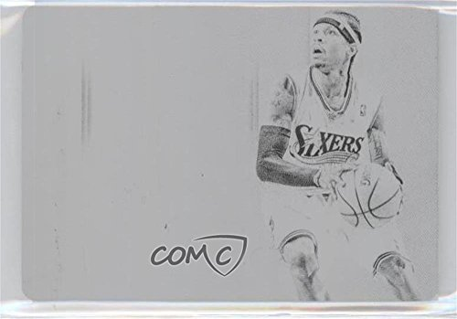 (Allen Iverson #1/1 (Basketball Card) 2014-15 Panini National Treasures - Timelines - 15-16 National Treasures Printing Plate Black)
