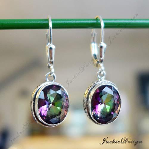 - Sparkle Drop Mystic Topaz Peacock Color Bali Earrings Sterling Silver JD201