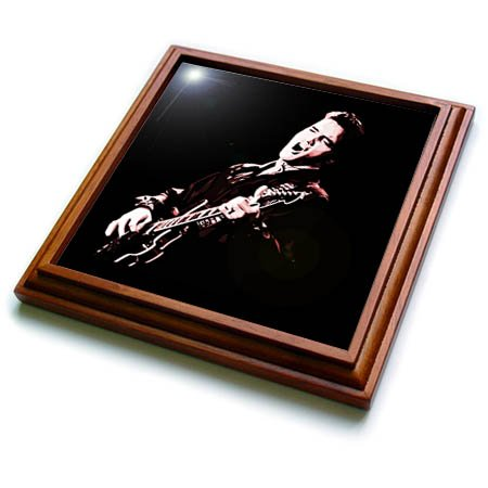 3dRose trv_256792_1 Elvis Presley with His Guitar Trivet with Tile, 8'' x 8''