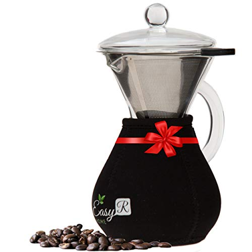 EasyR Home Pour Over Brewer - 14 oz Borosilicate Glass Personal Coffee Maker with Reusable Paperless Stainless Steel Filter/Dripper, Glass Lid and Free Carafe Warmer to Keep Coffee Hot