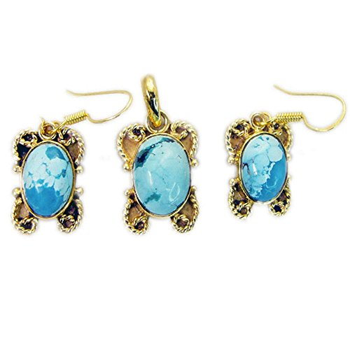 Jewelryonclick Genuine Turquoise Gold Plated Pendant Earings Set Women Handcrafted Wedding Jewelry ()