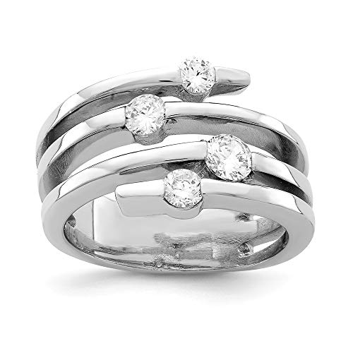 925 Sterling Silver Cubic Zirconia Cz Right Hand Band Ring Size 7.00 Fine Jewelry Gifts For Women For Her ()