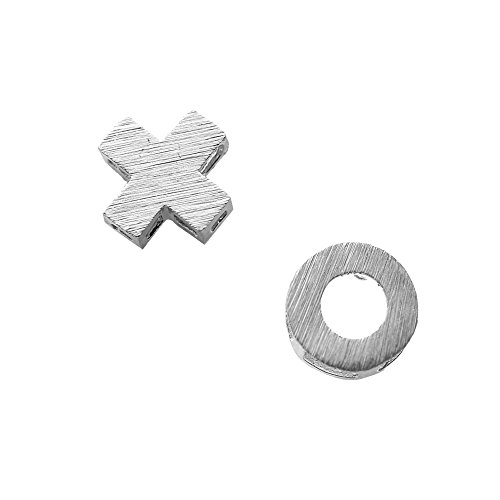 Spinningdaisy Handcrafted Brushed Metal XO Hug and Kiss Stud Earrings (Xo Hugs Kisses)