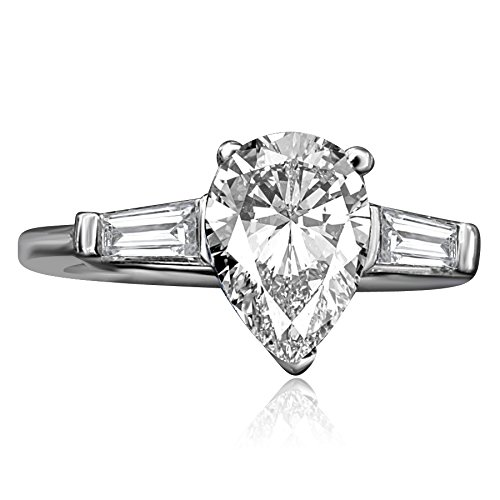 Diamond Veneer - 1.5ct Pear Center (Side Baguettes) Classic Style Sterling Silver Engagement Ring (Clear, 6)
