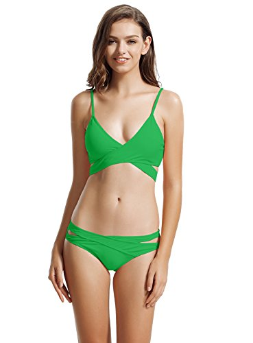 Fully Lined Low Rise Bikini - zeraca Women's Sexy Cutout Bottoms Wrap Bikini Bathing Suits (L14, Fern Green)