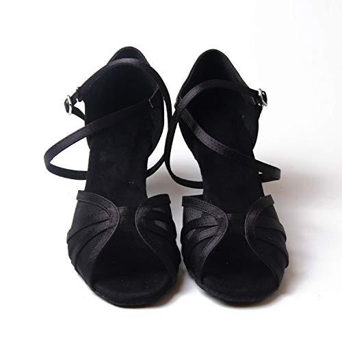 Salsa La Tango Salón Latín Heels Mujeres De 8cm Señoras Black Baile Zapatos Jywmsc f1HOn