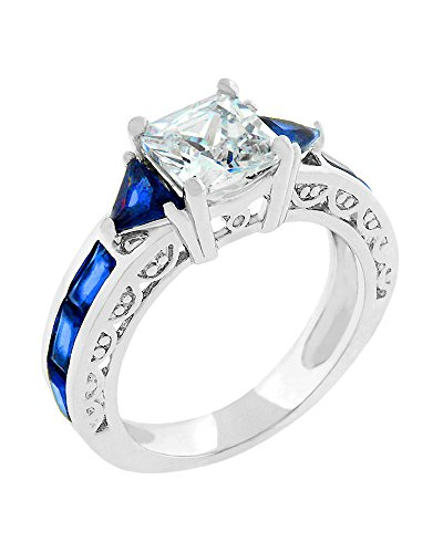 Contemporary Trillion Ring (Ring with Radiant and Trillion Cut Sapphire Blue CZ and Round Cut Clear CZ Along the Shank Size 6)