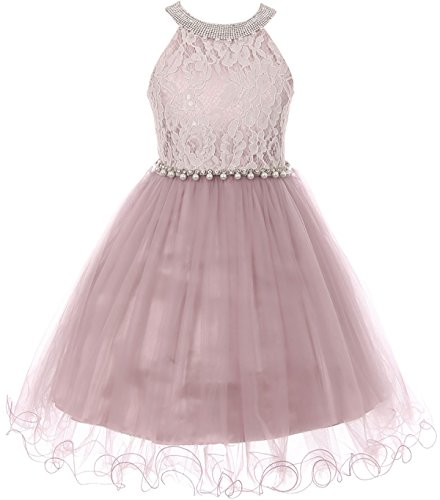 Little Girl Gorgeous Pearl Halter Pageant Gown Party Flower Girl Dress Rose 4 CC 5052 -