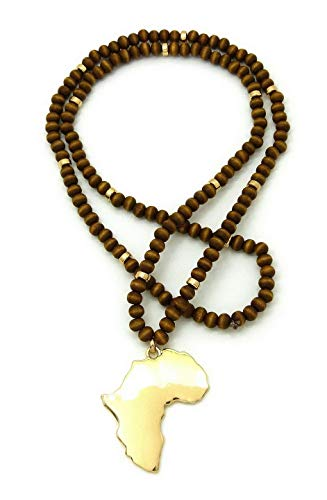Werrox New Africa GYE NYAME Pendant 30 Wooden Bead Chain Hip HOP Necklaces | Model NCKLCS - 4282 |