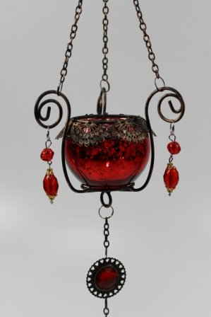 Hanging Antique Glass Votive Tea Light Holder (Metallic Red)