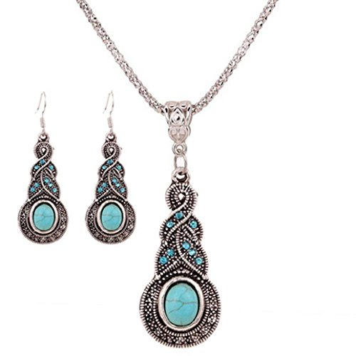 Price comparison product image 2017 Hot Jewelry Set ! AMA(TM) Women Vintage BOHO Style Peacock Butterfly Flower Owl Turquoise Pendant Necklace Earrings Eardrop Jewelry Set Gifts (F)