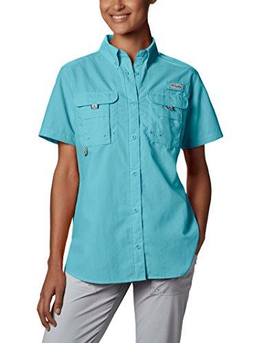 Columbia Womens Bahama Short Sleeve Shirt, X-Large, Clear Blue