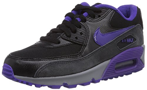 Nike Air Max 90 616730, Damen Low-Top Sneaker Schwarz (Blk/Crt Prpl-Hypr Grp-Anthrct)