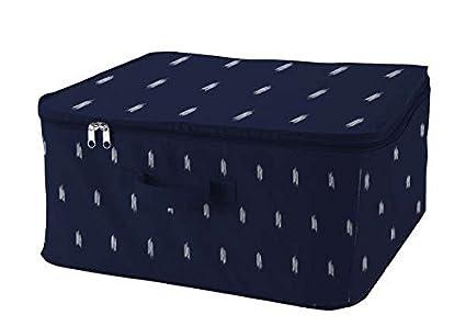 Compactor Bleu Kasuri Bolsa de Almacenamiento con Cremallera, Polipropileno, Azul/Blanco, 45 x 46 x 20,5 cm, Non-Woven 75G | Printing by Machine, L