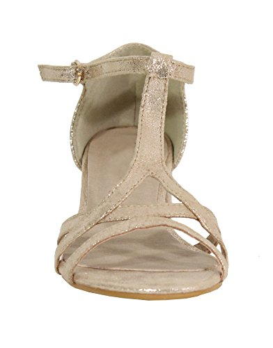 para Gold Shoes Sandalias by Mujer HqXwnO