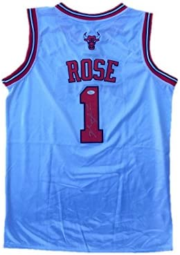 55c53e250 Autographed Derrick Rose Jersey - Home White - JSA Certified - Autographed  NBA Jerseys