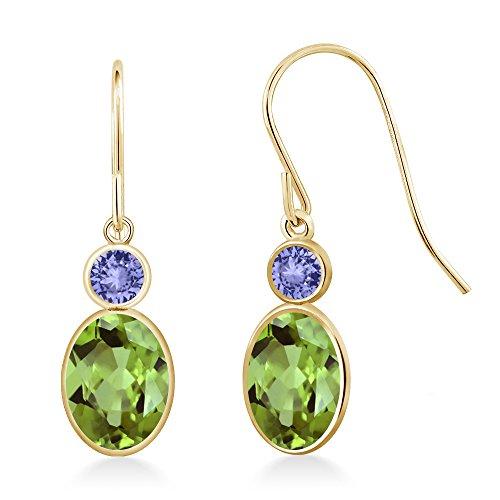 Gem Stone King 1.84 Ct Oval Green Peridot Blue Tanzanite 14K Yellow Gold Earrings ()