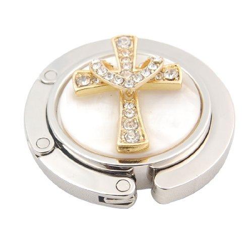 DealMux Golden Tone Cross Heart Decor Round Folding Handbag Holder Hanger