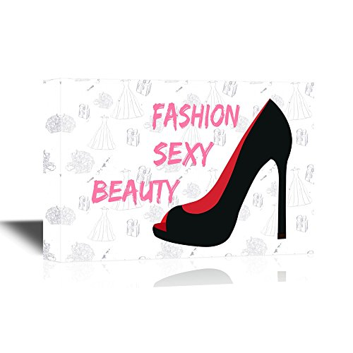 wall26 – Canvas Wall Art – Fashion Sexy Beauty Concept with Black Highheel – Gallery Wrap Modern Home Decor Ready to Hang – 32×48 inches