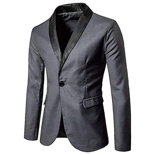 Hommes Poche Manteau Printemps À Ajusté Longues Blazer Avec Partie Loisirs Veste Grau Manches Pour De Automne Costume Uqct1Z