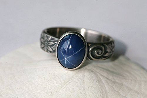 Large Oval Created Blue Star Sapphire and Sterling Silver Ring on Floral Pattern Band in Antique Silver Finish