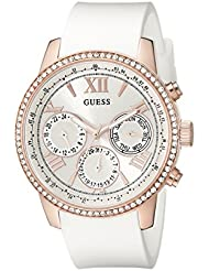 GUESS Womens Stainless Steel Classic Silicone Watch, Color:Rose Gold-Tone/White (Model: U0616L1)