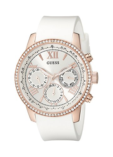GUESS Women's U0616L1 Sporty Rose Gold-Tone Stainless Steel Watch with Multi-function Dial and White Strap - Guess White Dial Ladies