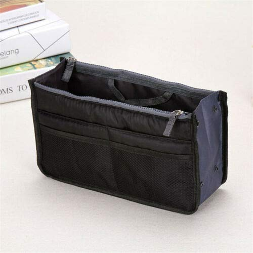(Multifunction Purse Travel Makeup Cosmetic Bag Toiletry Case Pouch Storage Zip (Color - B74 Black))