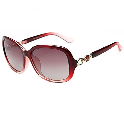 Femmes Cadre Leben Lunettes Oversized nbsp;lunettes Pour Polarzied Soleil Mode De Vintage Uv400 Rouge BXxwxqCE