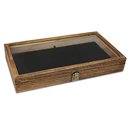 1aa144679b56d Mooca Wooden Jewelry Display case with Tempered Glass Top Lid, Brown Color